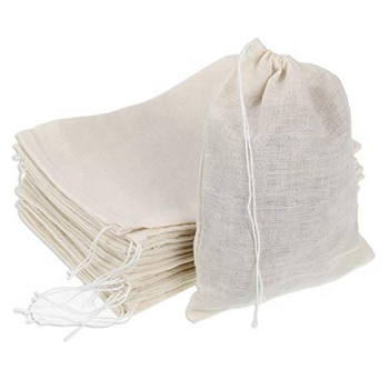 Eco friendly Muslin Bags Reusable Cotton Drawstring Bags 100% Cotton produce bag