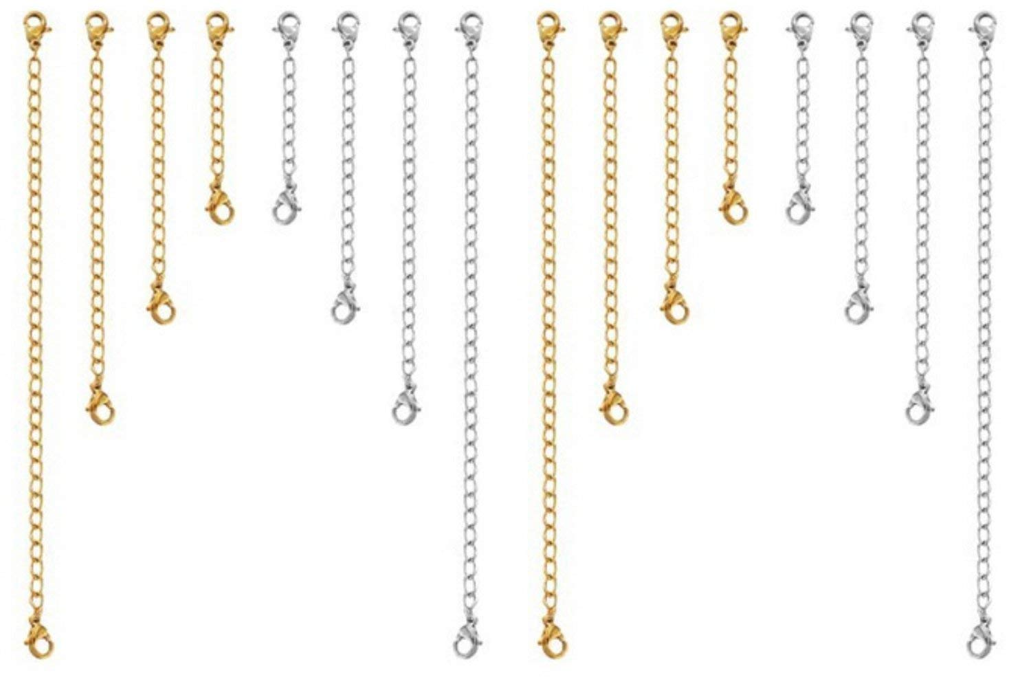Get Quotations Swonvi Tm 16 Pcs Silver And Gold Color Necklace Bracelet Chain Jewelry Extender