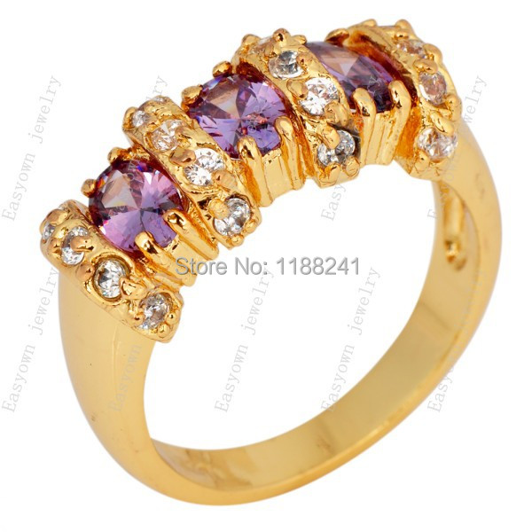 10ps/lot Size 8/9 Women Fashion Jewelry Finger Rings 10KT Yellow Gold Filled anel For Lady Anniversary Gift HOT RY0138