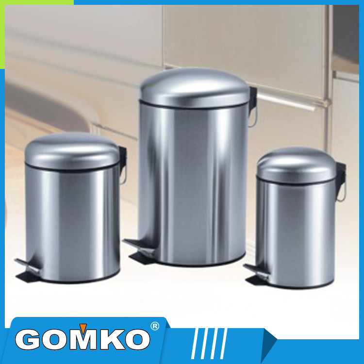 Stainless steel metal airtight barrel type bedroom trash bin