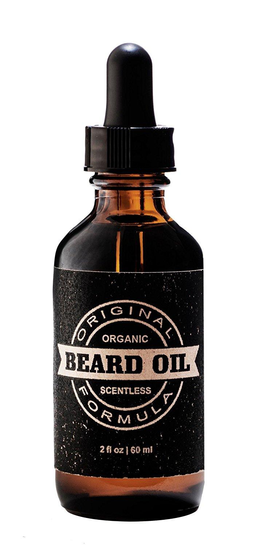 Beard Oil - The Original Organic Beard Oil For Men - Scentless - Organic Argan Oil & Organic Jojoba Oil - 2 oz