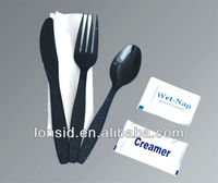 Supply plastic cutlery kits(fork knife spoon serviett )