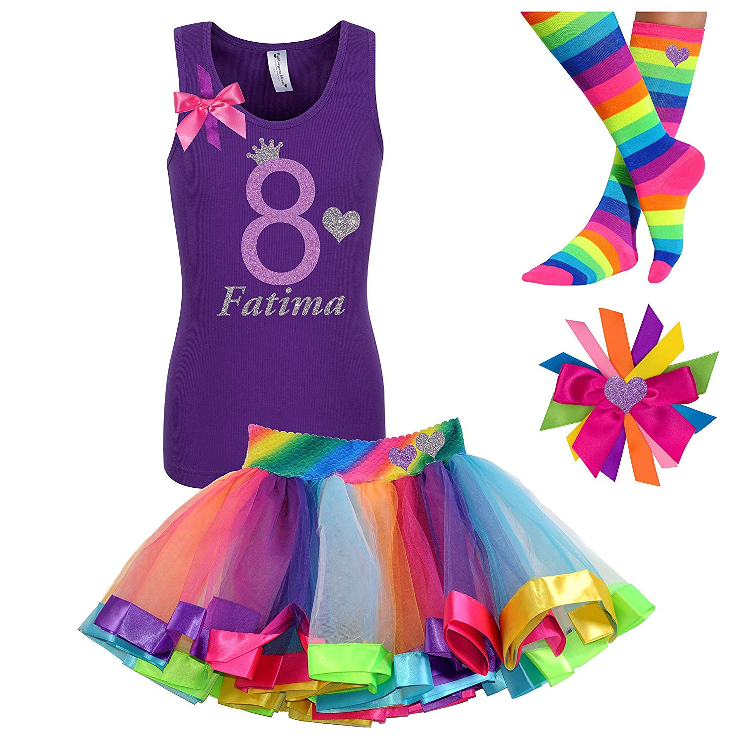 2891c53b Get Quotations · 8th Birthday Shirt Rainbow Heart Tutu Outfit 4PC Gift Set  Hair Clip Personalized Name 8 years