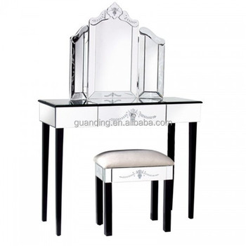 Venetian Mirrored Gl Wall Dressing Table Set With Stool