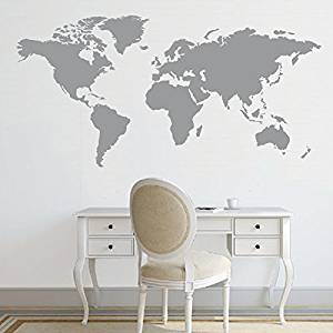 "Wall Decal Decor World Map Decal Large World Map Vinyl Wall Sticker World Map Wall D¨¦cor Wall Art Sticker(24""h x48""w, White)"
