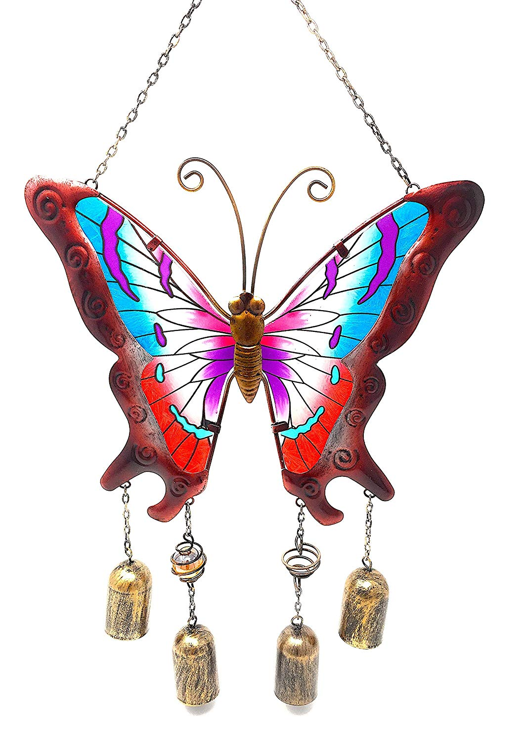 """DI Inc Wind Chime Charm Butterfly Colorful Stained Glass Metal Indoor Outdoor 20"""" x 11"""" (Red Short)"""