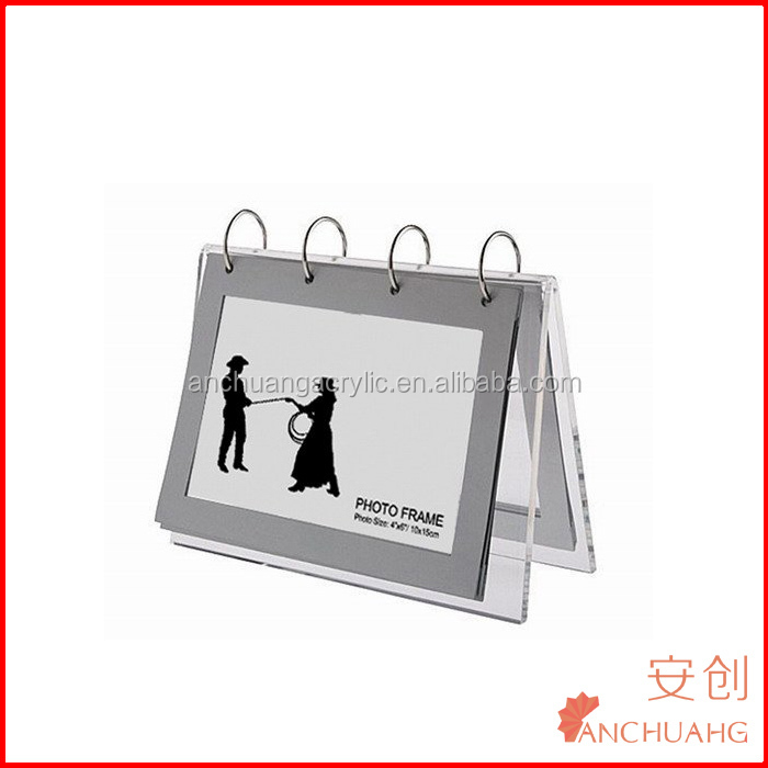 Acrilico calendario desktop del basamento perspex calendario supporto con photo frame