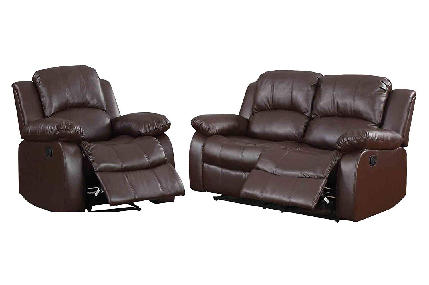 Ciabola 2PC Set Double Reclining Love Seat & Recliner Chair in Leather - Brown