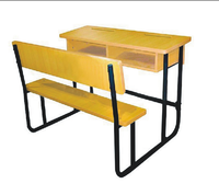 (Furniture2) table and bench sets , Double seat wooden school desk
