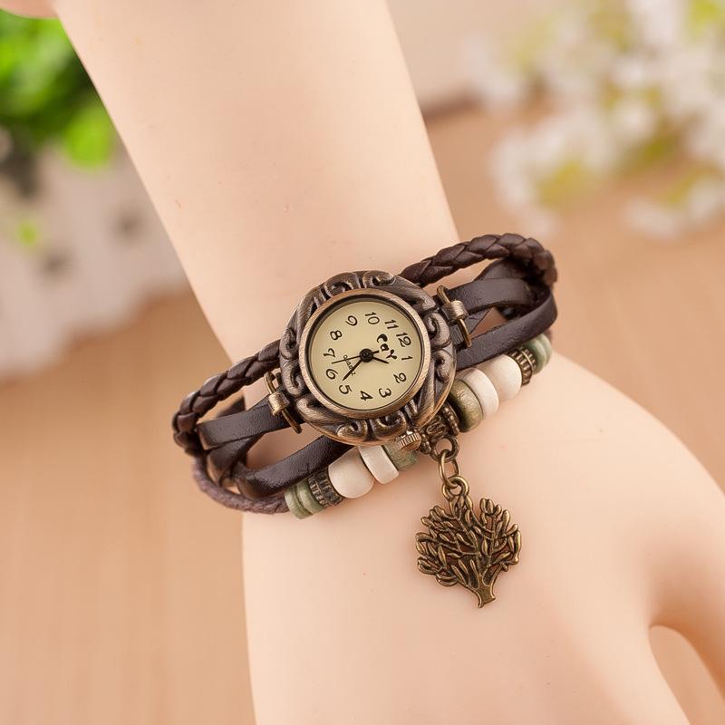 Watches Men's Watches Mens Watches Top Brand Luxury Mens Bracelet Weave Wrap Quartz Leather Leaf Beads Wrist Watcheserkek Kol Saatihot Sales #10 Be Friendly In Use