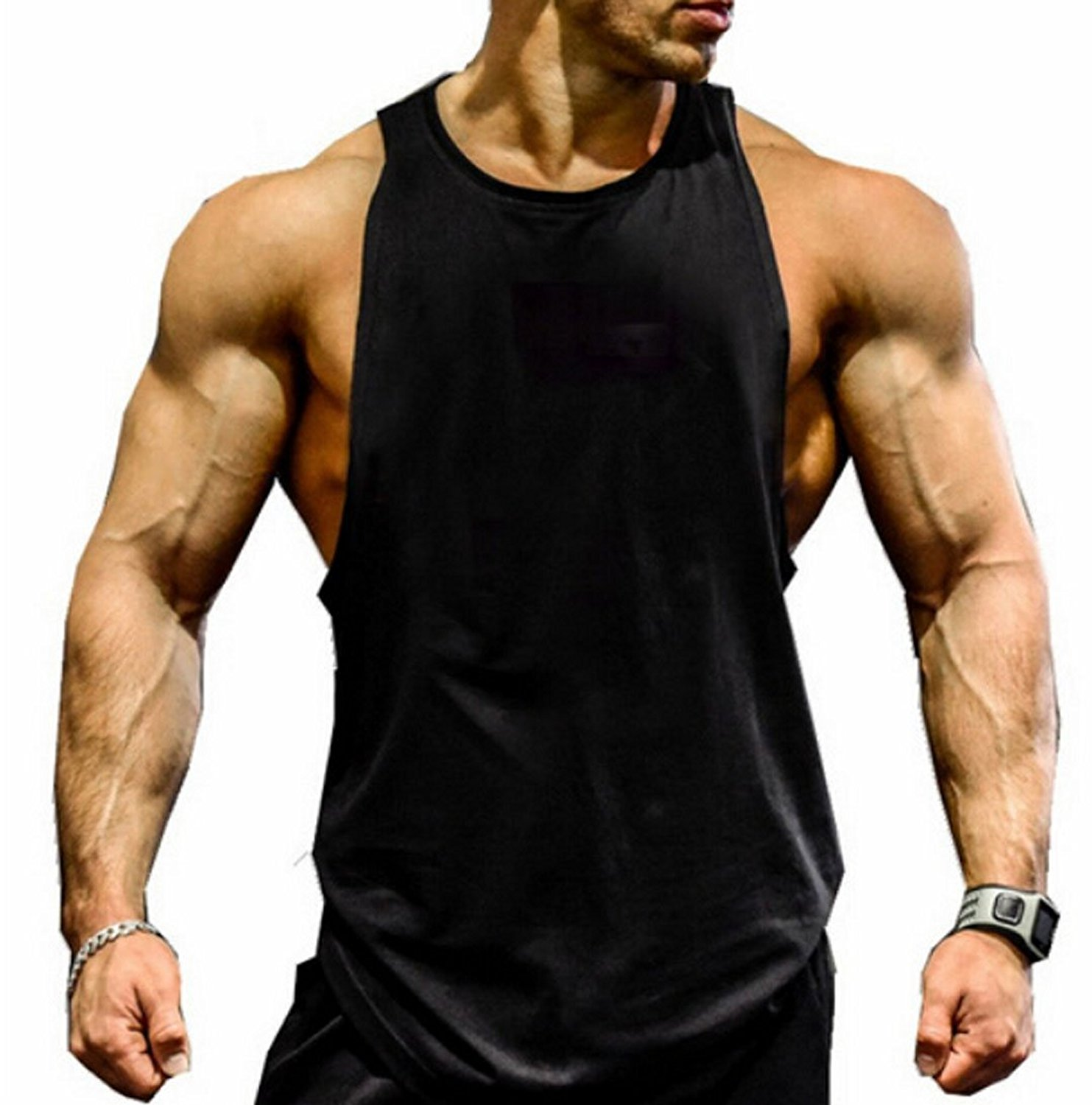 45a694e19cc4f Get Quotations · Zaaale Men Muscle Fitness Gym Stringer Tank Tops  Bodybuilding Workout Sleeveless Shirts