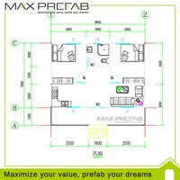 prefab steel frame Small house plans design drawing