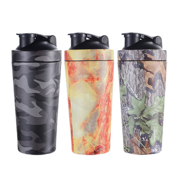 Factory Direct Supply 25oz Custom Camo Print Stainless Steel Protein Shaker, Metal Sports Drink Bottle