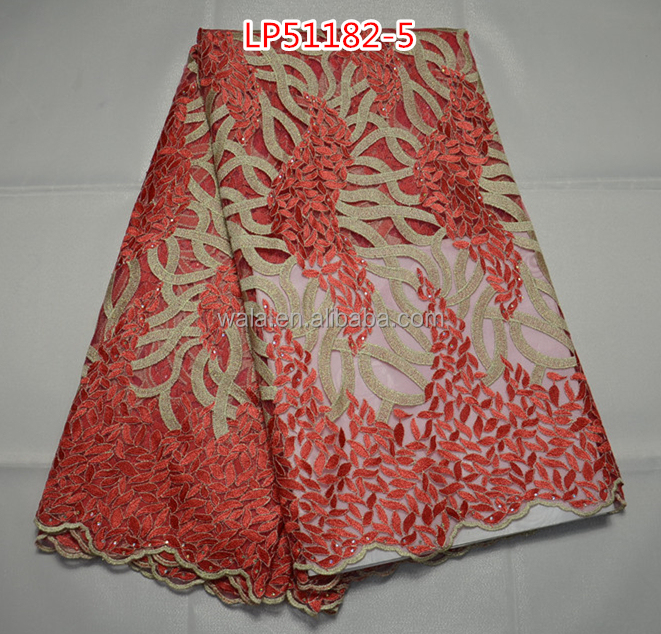 Vintage Style Light Red Net Lace Fabric With Golden Pattern ...