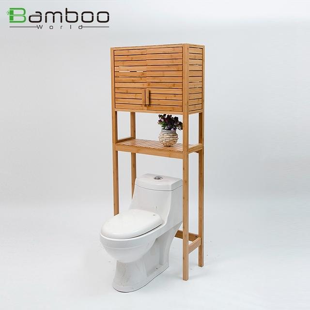 Two Door Bamboo Bath Cabinet , Bathroom Space Saver Over Toilet