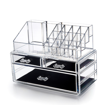 Plastic Cosmetic Organizer Drawers Holder Clear Makeup Storage Box