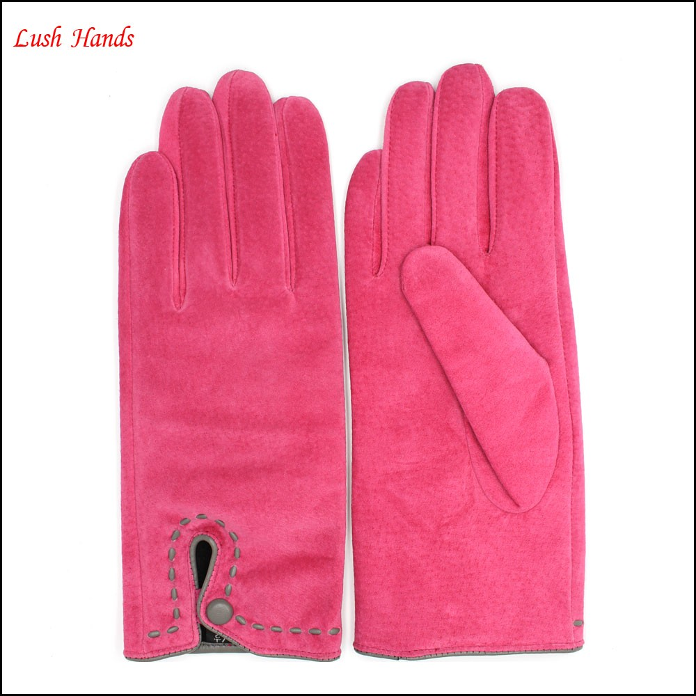 Winter classic warm gloves lining polyesther pink sheep suede glove