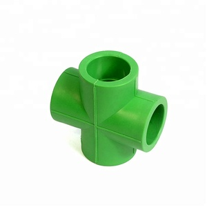 DIN8078 green color plastic PPR pipe fittings cross in Pakistan