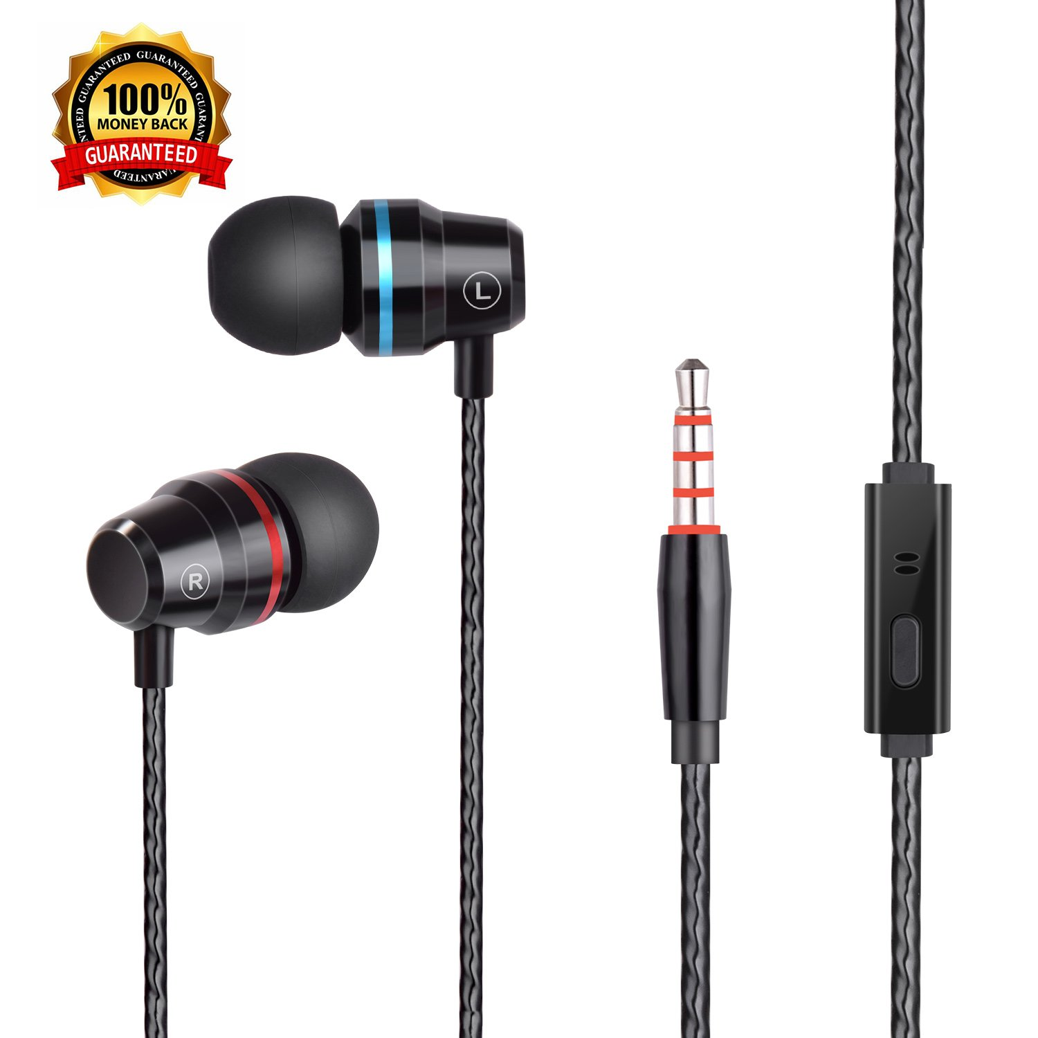 bcc06e27040 Earbuds Headphones Stereo In-ear Earphones with Microphone Mic Wired earbuds  Waterproof Earphone for iPhone