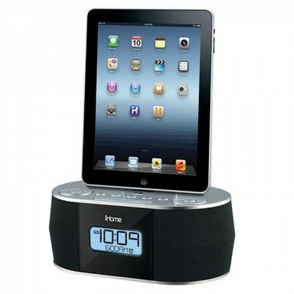 Ihome Id38sv Ipad(R)/Iphone(R)/Ipod(R) App-Enhanced Stereo System With Dual Alarm Fm Clock Radio