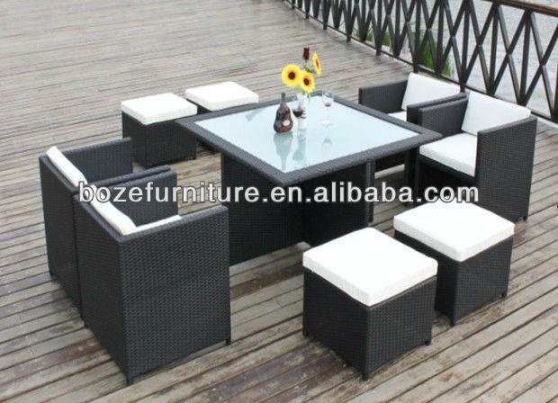 Mueble jard n mobiliario rattan mimbre mesa de comedor y for Mobiliario jardin rattan