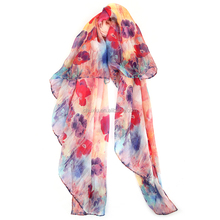 2017 Hot Long Custom Digital Print Silk Scarf Silk chiffon Fashion Scarf