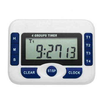 KH-TM043 Digital Timer Clock 12/24 Hours Countdown Kitchen Four Channels 4 Groups Event Count Up Down Timer Clock with Alarm