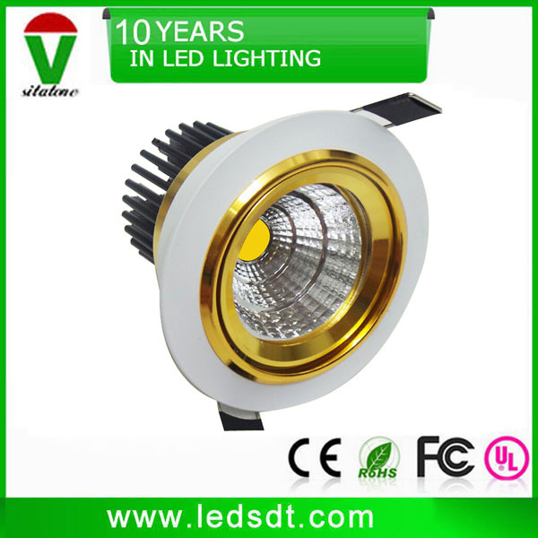 free shipping 3 inch white gold cob led downlight
