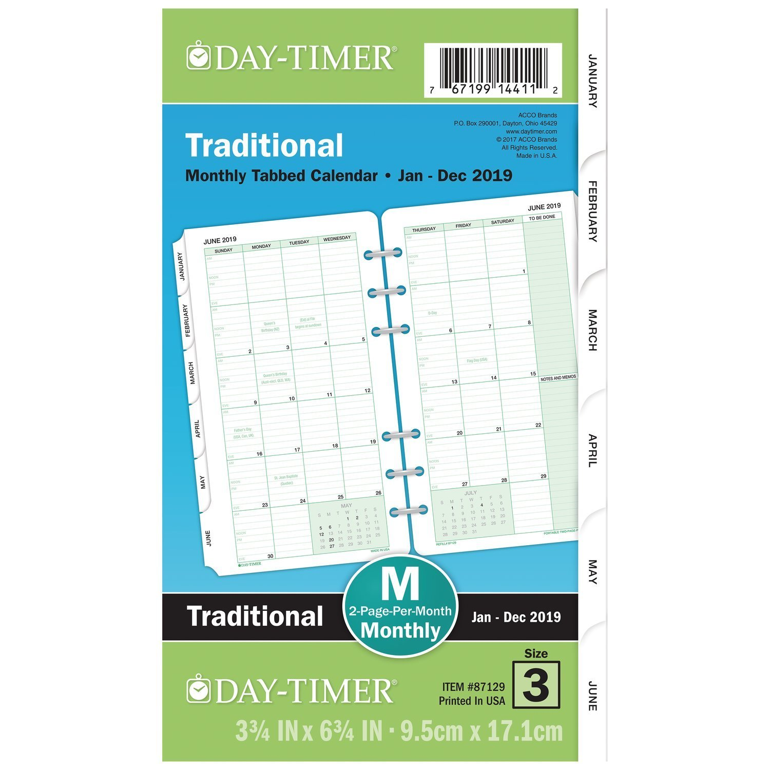 "Day-Timer 2019 Planner Refill, 3-3/4"" x 6-3/4"", Portable Size 3, Two Pages Per Month , Loose Leaf, Classic (87129)"