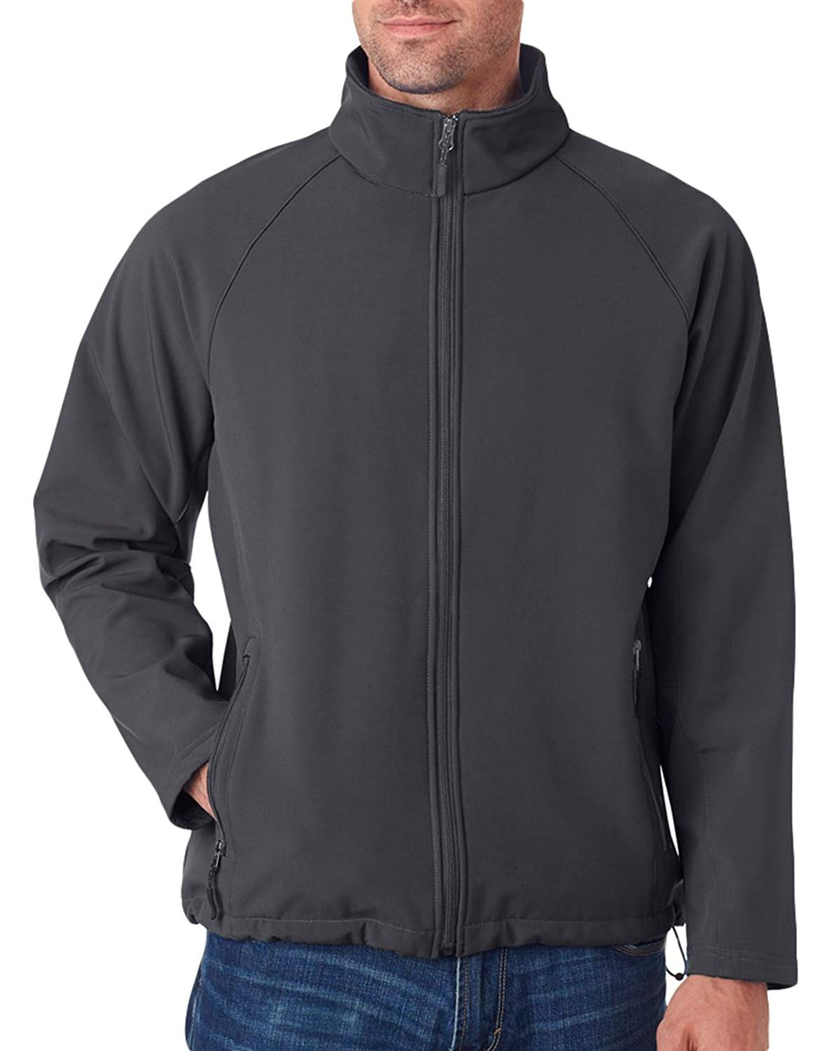 UltraClub Men's Wind Resistant Bottom Hem Soft Shell Zipper Jacket