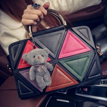 Bz2469 Korean fashion handbags mature lady high-grade triangle shoulder tote bag with bear