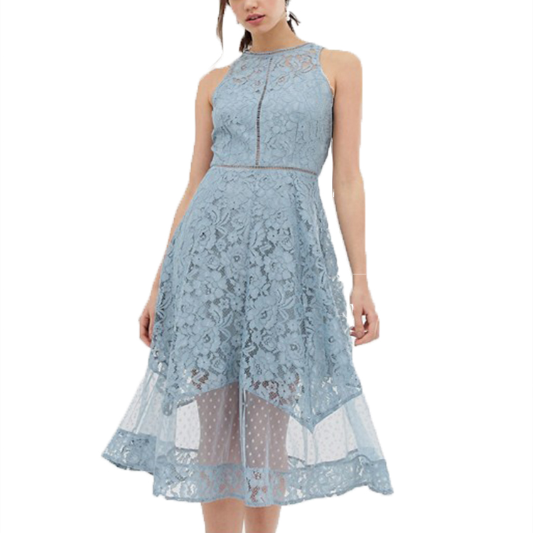 Little Mistress Tall All Over Dotty <strong>Lace</strong> Midi Prom <strong>Skater</strong> <strong>Dress</strong> In Blue