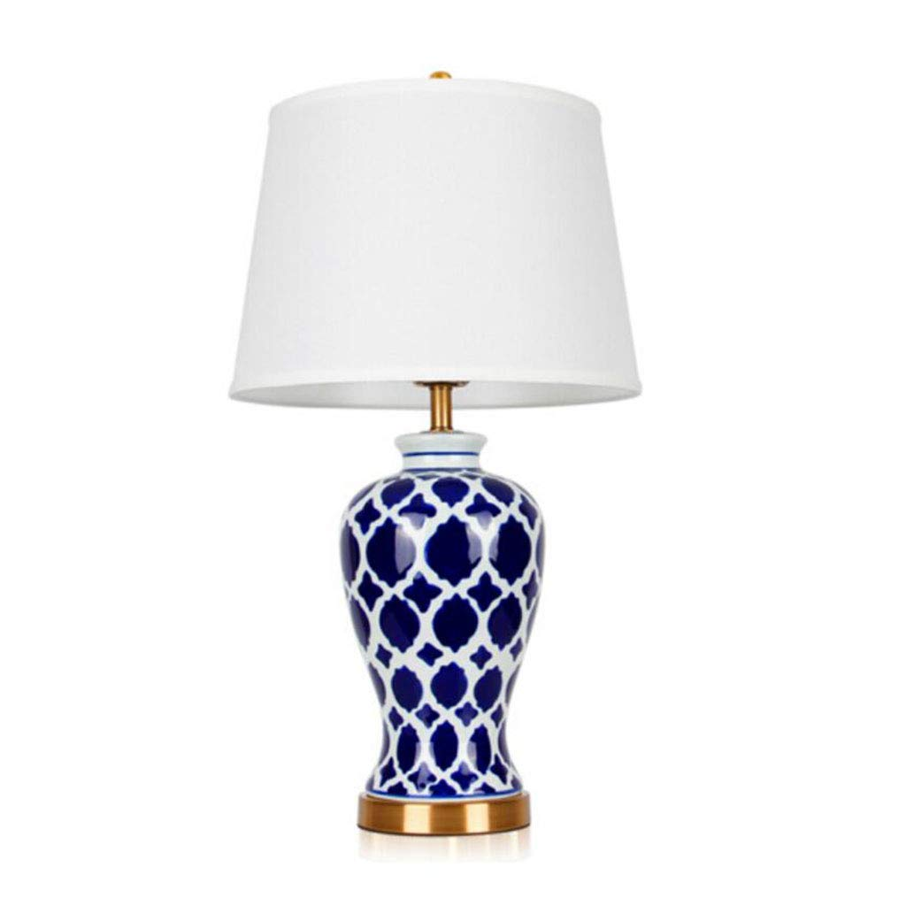 Get quotations · hhq american bedroom bedside lamp model room retro blue hand painted creative ceramic table lamp