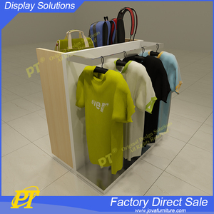 Wooden material T shirt display stand shop fittings garment racks