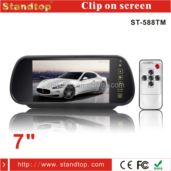 DC12V-24V Clip on Touch Screen 7 inch rearview mirror monitor