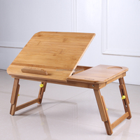 Bamboo portable over bed folding laptop table