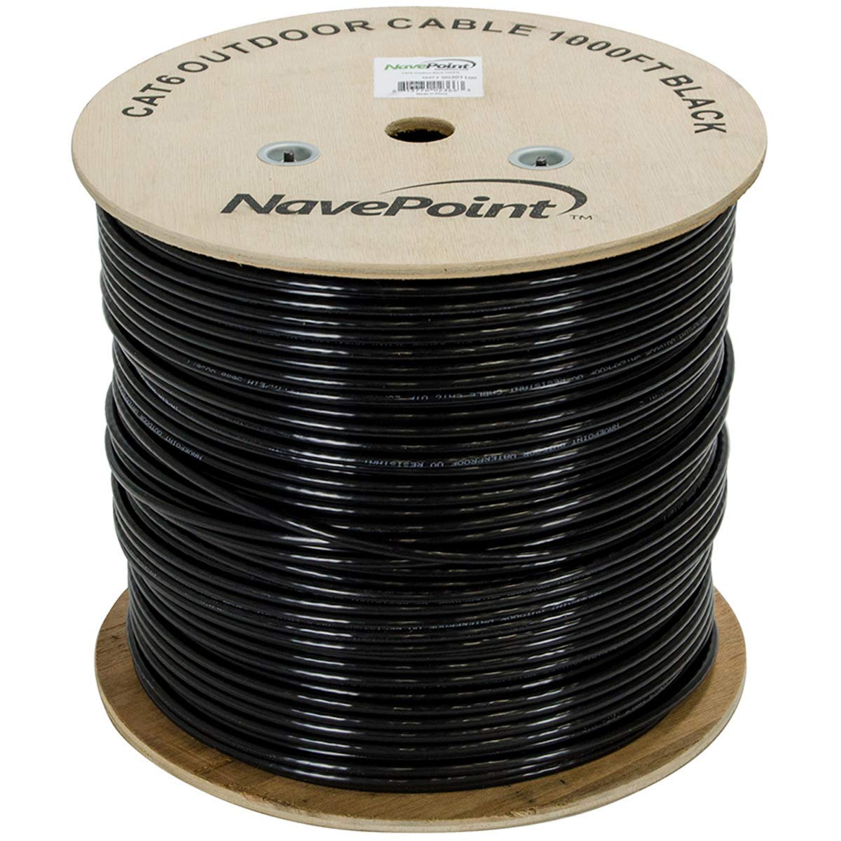 NavePoint CAT6 Outdoor Direct Burial Rated, 1000ft, Solid Conductor, Black, Bulk Ethernet Cable, 23AWG 4 Pair, Unshielded Twisted Pair (UTP)