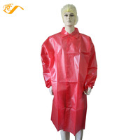 Pink Polypropylene Non woven with PE Plastic Coating Waterproof Disposable Lab Coat Coats