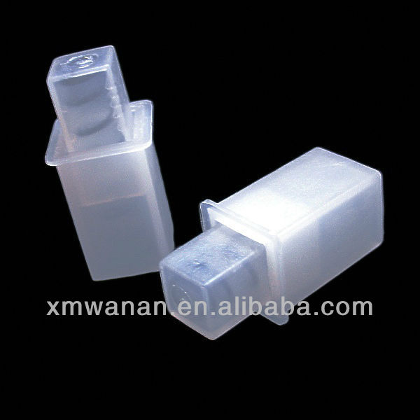 Translucent plastic pipe end cap with stainless steel spring , towel bar accessories