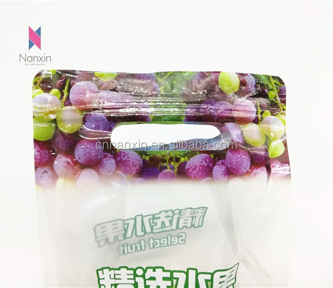 transparent fruit packaging flat bottom bag with handle holes