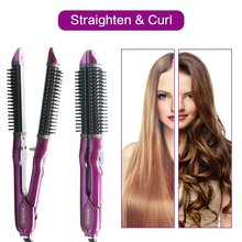 Professional 3 in 1 hot heat hair straightening comb with electric hair straightening brush