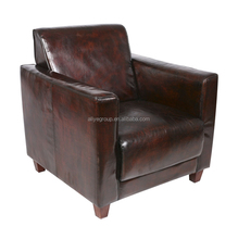 A503- American style living room furniture leather sofa cover wooden armchair single sofa