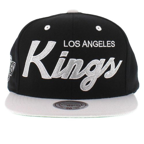 Get Quotations · Mitchell and Ness NHL Los Angeles Kings 2 Tone Team Script  Snapback Cap d996fadda015