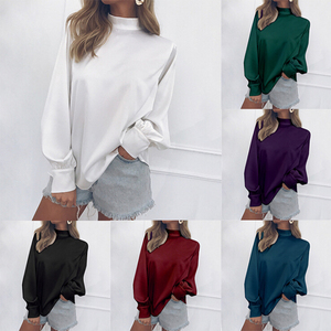 Free Sample Latest Design Sexy Fashion Autumn Casual Loose Fit Chiffon Long Sleeve Woman Blouse