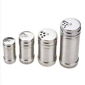Kitchen Tools Stainless steel Salt and Pepper cellar Metal Spice bottle jar