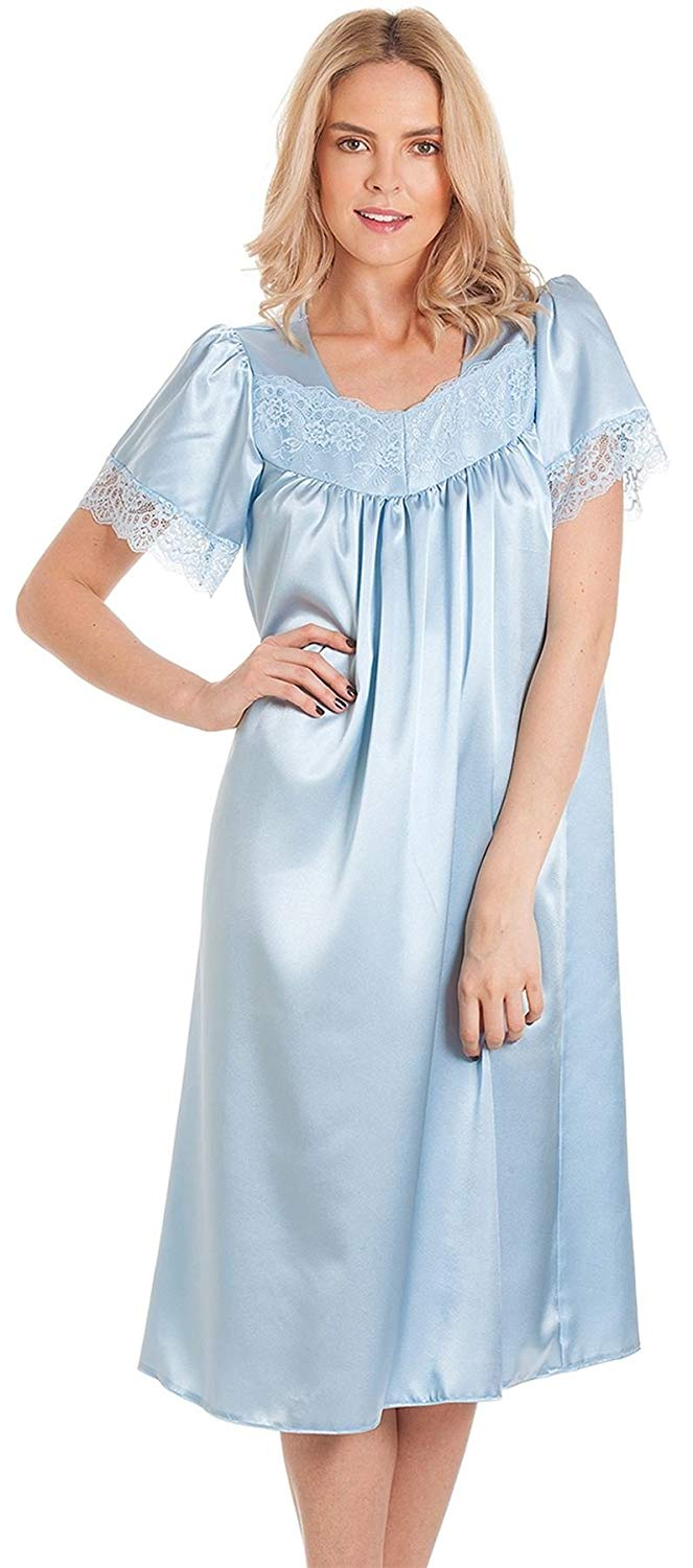 dac5c5838193 Get Quotations · Womens Satin/Lace Short Sleeve Nightdress Nightie in  Pastel Shades