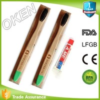 Innovative case eco-friendly nylon4 nylon6 bamboo fiber & bamboo charcoal bristle bamboo toothbrush with brown paper