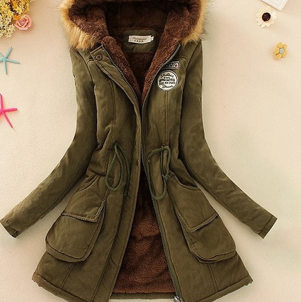 Foreign trade new lady big size Long sleeve hooded lambs wool cotton-padded clothes woman coat