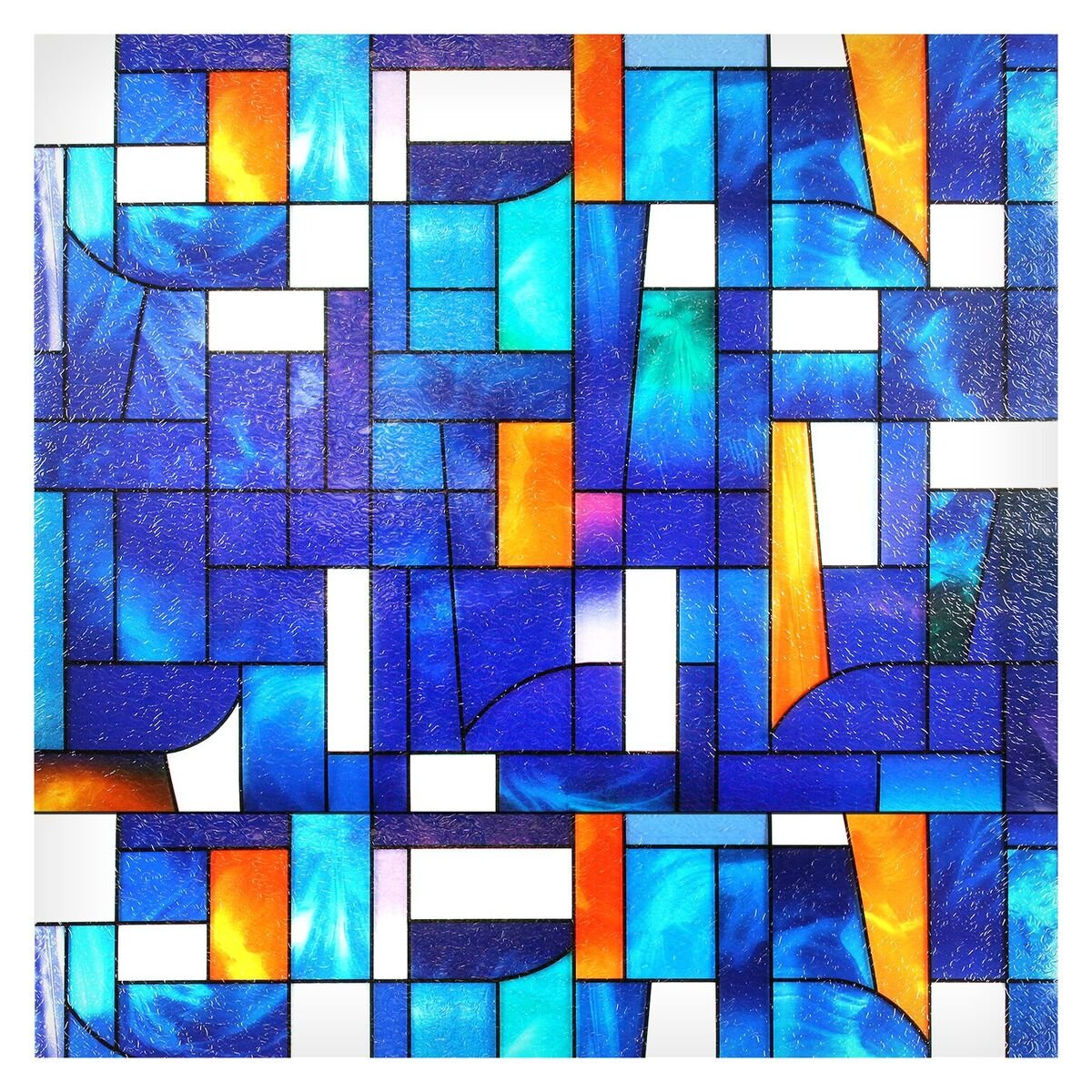 Buydecorativefilm BDF3ABST1 Abstract Stained Glass Window Film, 36-Inch-by-26-Inch (1 Pattern)