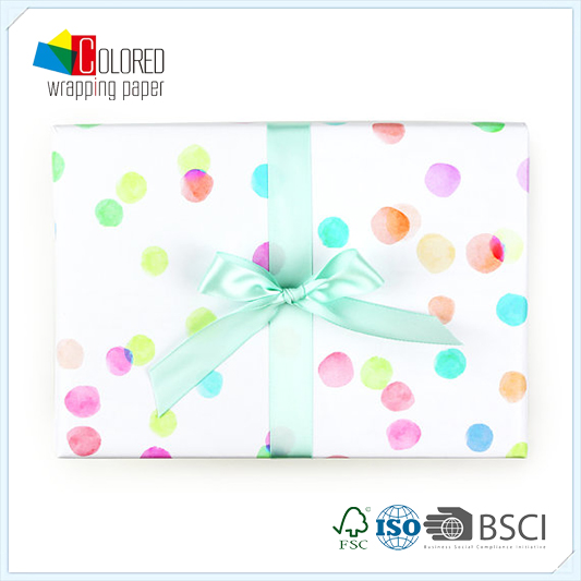 Watercolor Patel Dots Design Printing Printed Gift Wrapping Paper Wholesale Packaging Paper